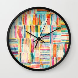 Summer Pastel Geometric and Striped Abstract on cream Wall Clock