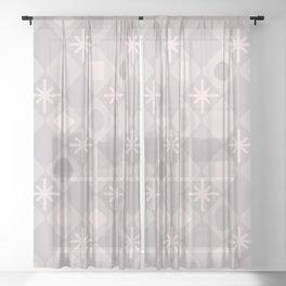Mid Century Modern Diamonds Pale Pink Sheer Curtain