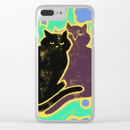 Two Cats Cuddling Clear iPhone Case
