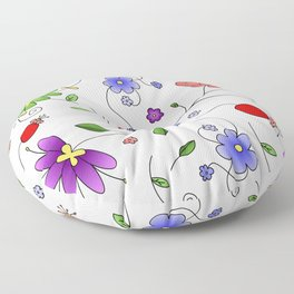 Flower Bed Colorful Floor Pillow