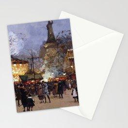 Place de la Republique, Paris, France by Eugene Galien Laloue Stationery Cards