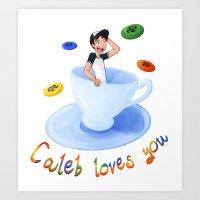 caleb troy Art Prints featuring Caleb Loves You by HoneysuckleImagi