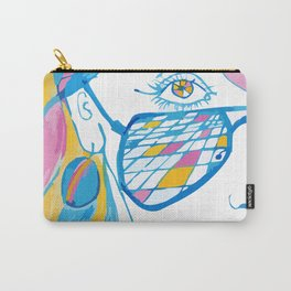 Girl with blue glasses, yellow eyes and color hair Carry-All Pouch