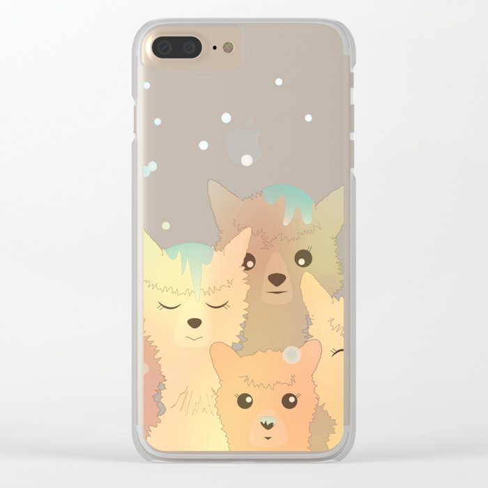 Alpaca Family I - Mint Green Snow Background Clear iPhone Case