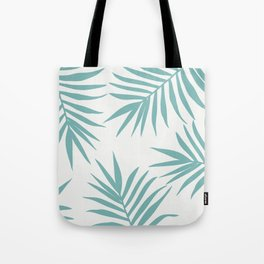 Delicate Green Tropical Leaves Pattern Tote Bag