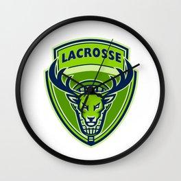 Deer Buck Stag Lacrosse Crest Wall Clock