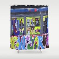 super hero Shower Curtains featuring Super Hero Subway by Maximillist Art