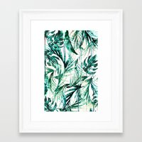 paradise Framed Art Prints featuring Green Tropical paradise  by Nikkistrange