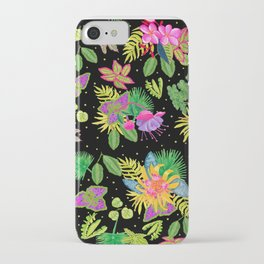 Tropical Flowers with Black Background iPhone Case