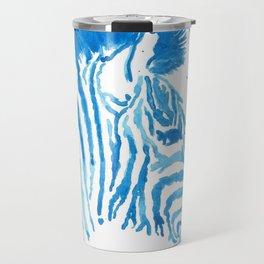 Splattered Blue Zebra Travel Mug