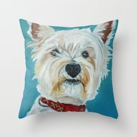westie Throw Pillows featuring Jesse the Beautiful Westie by Barking Dog Creations Studio