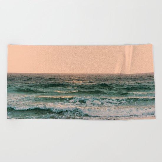 Pink Skies Ocean Vibes Beach Towel