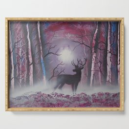 Deer In A Purple Forest Serving Tray