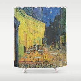 Cafe Terrace at Night by Vincent van Gogh Shower Curtain