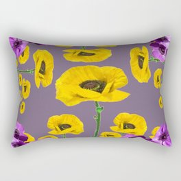 LILAC ANEMONES YELLOW POPPY FLOWERS ON GREY Rectangular Pillow