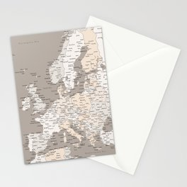 """Light brown map of Europe with cities """"Light earth tones"""" Stationery Cards"""