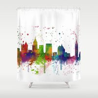 atlanta Shower Curtains featuring Atlanta Skyline by Marlene Watson
