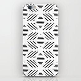 Geometric Line Lines Diamond Shape Tribal Ethnic Pattern Simple Simplistic Minimal Black and White iPhone Skin