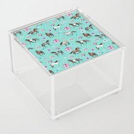 Hand drawn horses, Flower horses, Floral Pattern, Aqua Blue Acrylic Box