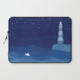 Lighthouse & the paper boat, blue ocean Laptop Sleeve