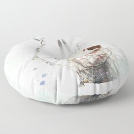 Can time the rabbit Floor Pillow