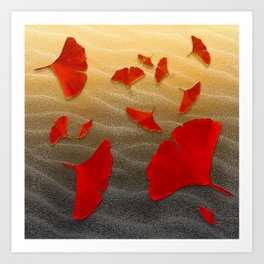 Red Ginko Art Print