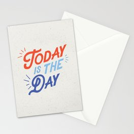 Today is the Day inspirational typography funny poster bedroom wall home decor Stationery Cards
