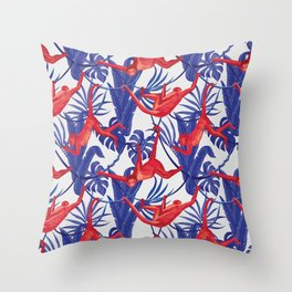 red monkey blue leaves pattern Throw Pillow