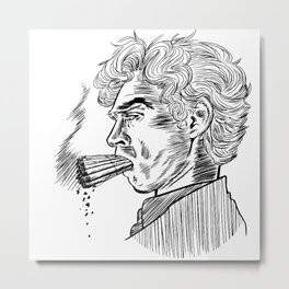 London Smoking Habit (Lineart) Metal Print
