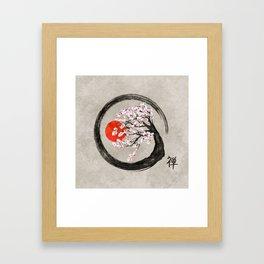 Zen Enso Circle and Sakura Tree on Canvas Framed Art Print