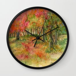 Autumn Woodlands Wall Clock