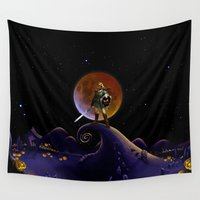 daenerys targaryen Wall Tapestries featuring Nightmare Halloween Zelda Link  by alexa