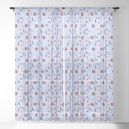 Memphis Tribes - Dove Blue Sheer Curtain