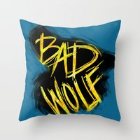 bad wolf Throw Pillows featuring BAD WOLF by Amanda Steuck