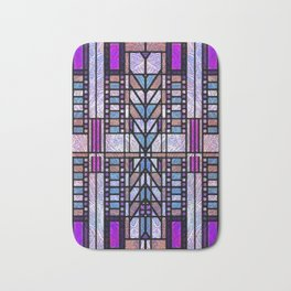 Purple and Blue Art Deco Stained Glass Design Bath Mat