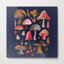 Mushroom Collection – Navy Metal Print