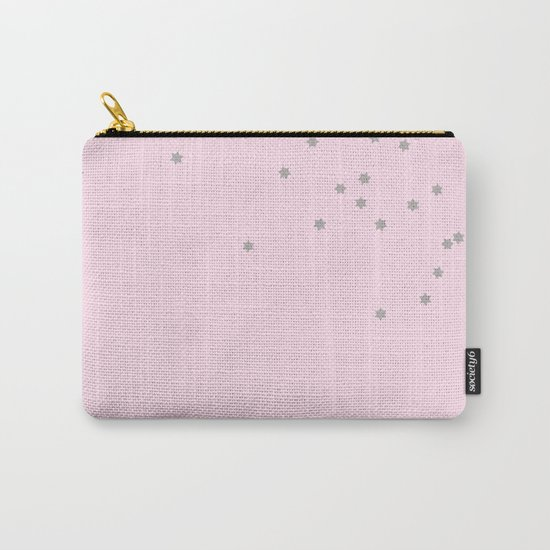 Little grey stars on pink background Carry-All Pouch