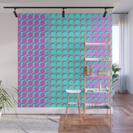 Pink & Aqua Spots on Taupe Wall Mural