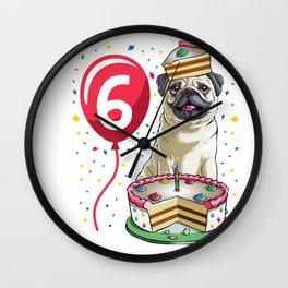 Pug Birthday Cake Balloon 6 Wall Clock