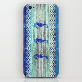 Rustic Navy Blue Coastal Decor Seahorses iPhone Skin