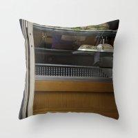 english bulldog Throw Pillows featuring English Bulldog by sovichka