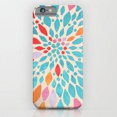 Radiant Dahlia - teal, orange, coral, pink watercolor pattern iPhone 6 Slim Case