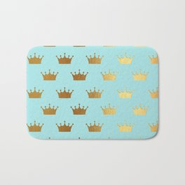 Gold Glitter effect crowns on aqua - Heraldy Pattern for Princesses on #Society6 Bath Mat