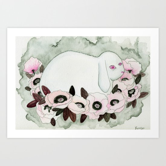 White Rabbit, Pink Poppies Art Print