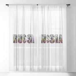 Russian Crest & Flag Sheer Curtain