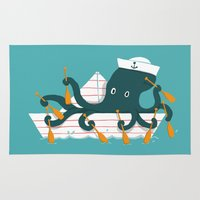 sailor Area & Throw Rugs featuring Sailor Octopus by Picomodi