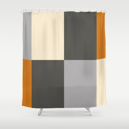 Minimal Abstract Vintage Cream Orange Grey 14 Shower Curtain