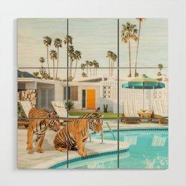 Tigers at the Pool Wood Wall Art