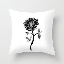 Linocut Rose floral single stem flower black and white printmaking Throw Pillow