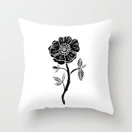 Linocut Rose floral single stem flower black and white printmaking Throw Pillow